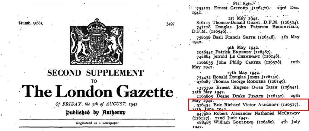 1942-08-07 LONDON GAZETTE ASHCR