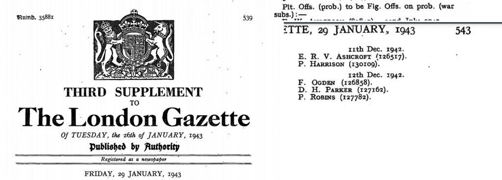 1943-01-29 LONDONGAZETTE ASHCR PROMOTION